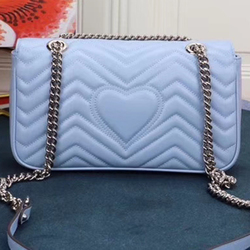 2020 new style women's bag light color luxury big brand design heart chain GG leather single shoulder oblique double G