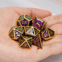 MetalDiceSet Dnd D&D D+D D AND D Dice Sets RolePlayingDungeonAndDragon Polyhedral Red Rainbow 7PCS D20 D12 D10 D8 D6 D4