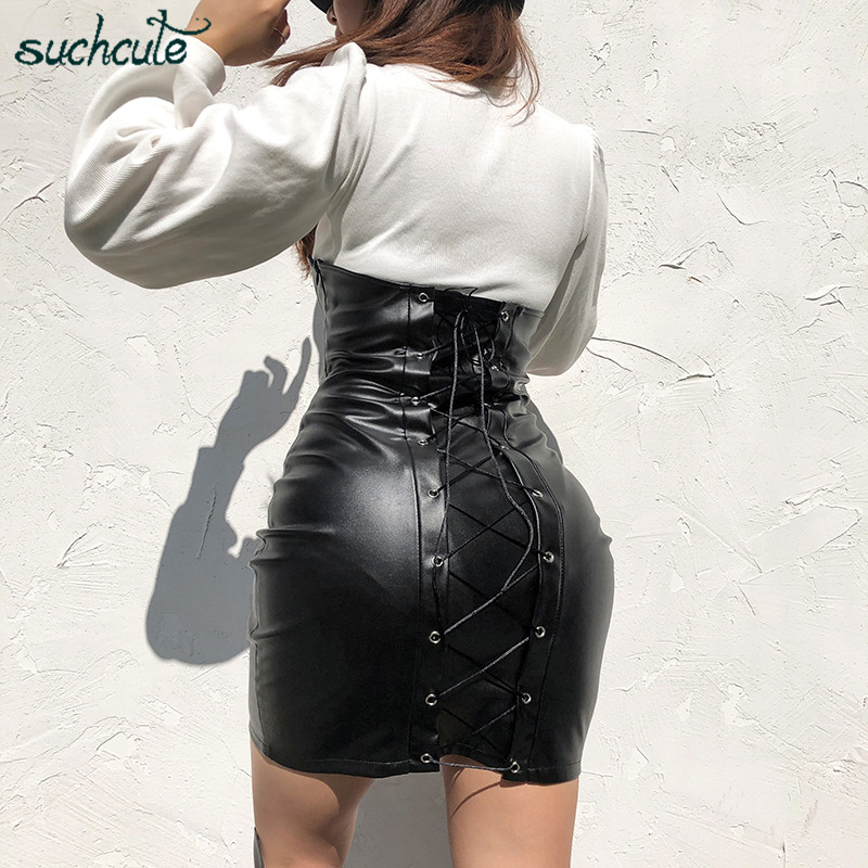 SUCHCUTE PU Faux Leather Bandage Women Skirt Wrap Irregular Modis Gothic Sexy Above Knee Winter 2019 Streetwear Solid Outfits
