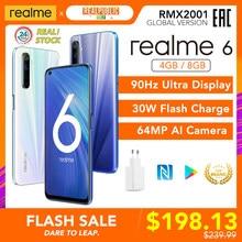Realme 6 versão global telefone móvel 4gb 8gb ram 128gb rom 30w ue carga flash 4300mah helio g90t 64mp câmera nfc play store