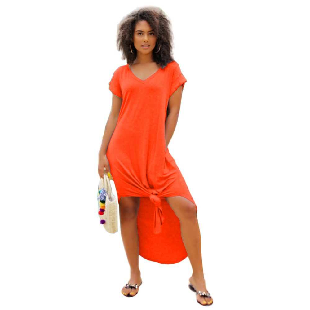 2020 Europe and the United States new temperament three-color loose women's V-neck short-sleeved split dress female