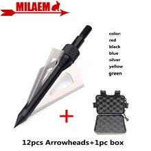 12 pièces tir à larc lame flèche avec 1pc boîte à tête large 3 lame fixe 100Gr pointe cible conseils chasse tir flèche accessoires