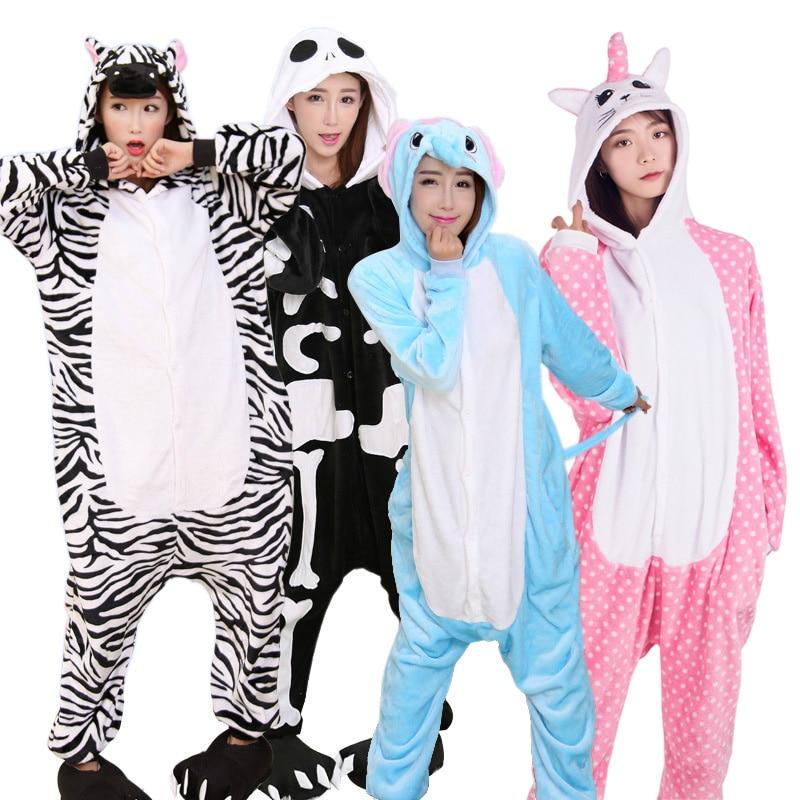 New Women Flannel Animal Pajamas Set Adult Women Men Unicorn Stitch Pegasus Pyjamas Cosplay Onesie Winter Soft Hooded Sleepwear