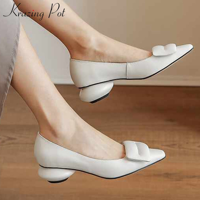 Krazing Pot Handmade Fashion Solid Ladies Shoes Genuine Leather Small Square Toe Med Heels Women Simple Style Slip On Pumps L10