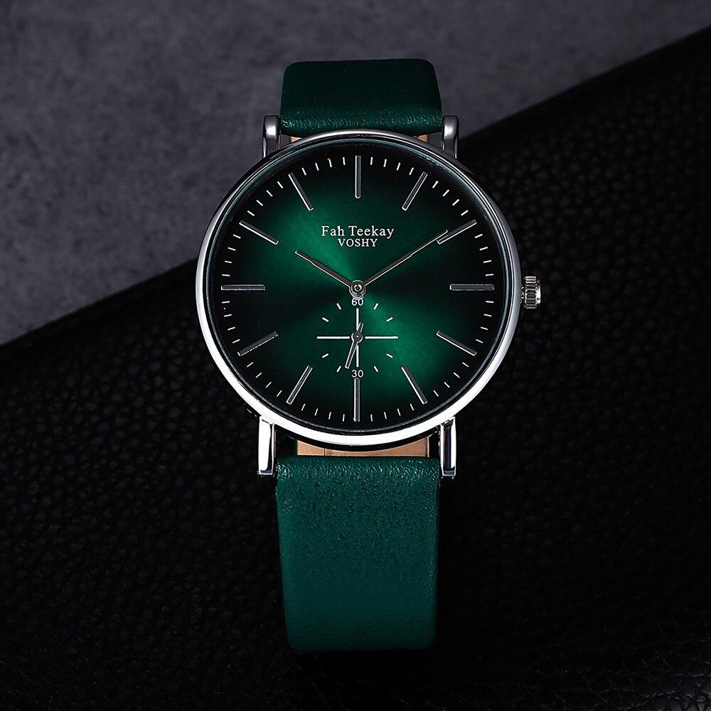Relógio feminino pulseira couro verde, relógio de pulso quartz elegante