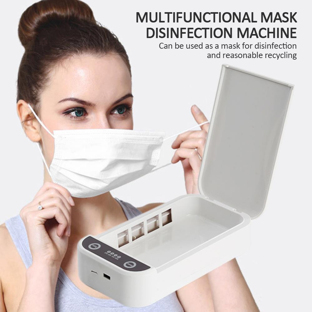 White Masks Sterilizer Uv Sterilizer Masks Disinfection Box Phone Sterilizer Coin Key Health Care Towels Portable Multipurpose