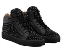 SHOOEGLE Sapatos Masculinos Men Fashion Patchwork Flat Thick Bottom Zipper Shoes Rhinestone Sneakers Shoes Man