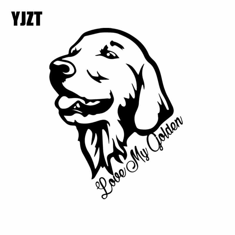 YJZT 12.3X15.8CM Love My Golden Retriever Vinyl Decal Window Car Sticker Decor Dog Pet Black/Silver C24-1136