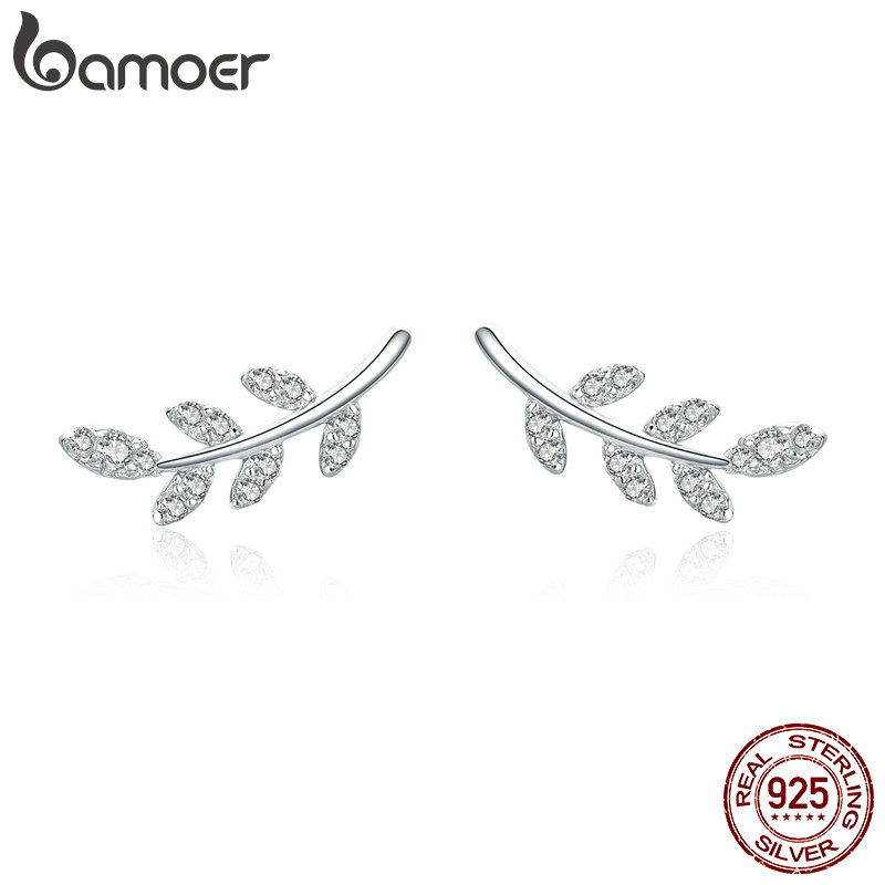BAMOER Authentic 925 Sterling Silver Spring Leaf Leaves Clear CZ Zircon Stud Earrings for Women Fashion Earrings Jewelry BSE031