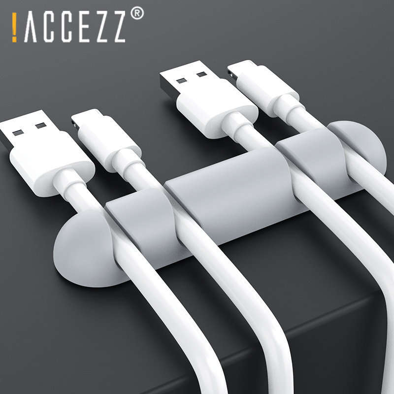 !ACCEZZ Wire Winder Organizer USB Cable Holder Management Earphone Mouse Cord Silicone Clip Phone Cables Line Desktop Organizers