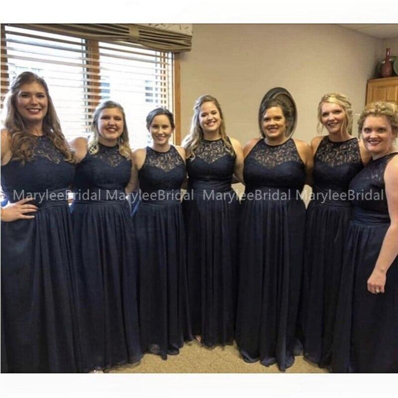Navy Blue Bridesmaid Dress Jewel Neck Lace Top Chiffon Skirt Maid Of Honor Party Gowns Zipper Back Vestido De La Dama De Honor