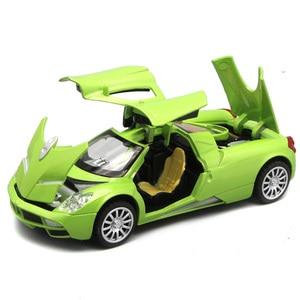 Image 2 - Коллекция литого под давлением, масштабная модель Pagani Huayra для мальчиков/Детская Металлическая Игрушечная машина, подарок с открывающимися дверями и функцией Оттяжки