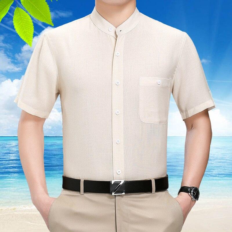 Summer Silk Men Short Sleeve Casual White Shirt Man High Quality Gentlemen Dress Shirts Camisa Masculina 102 KJ1952