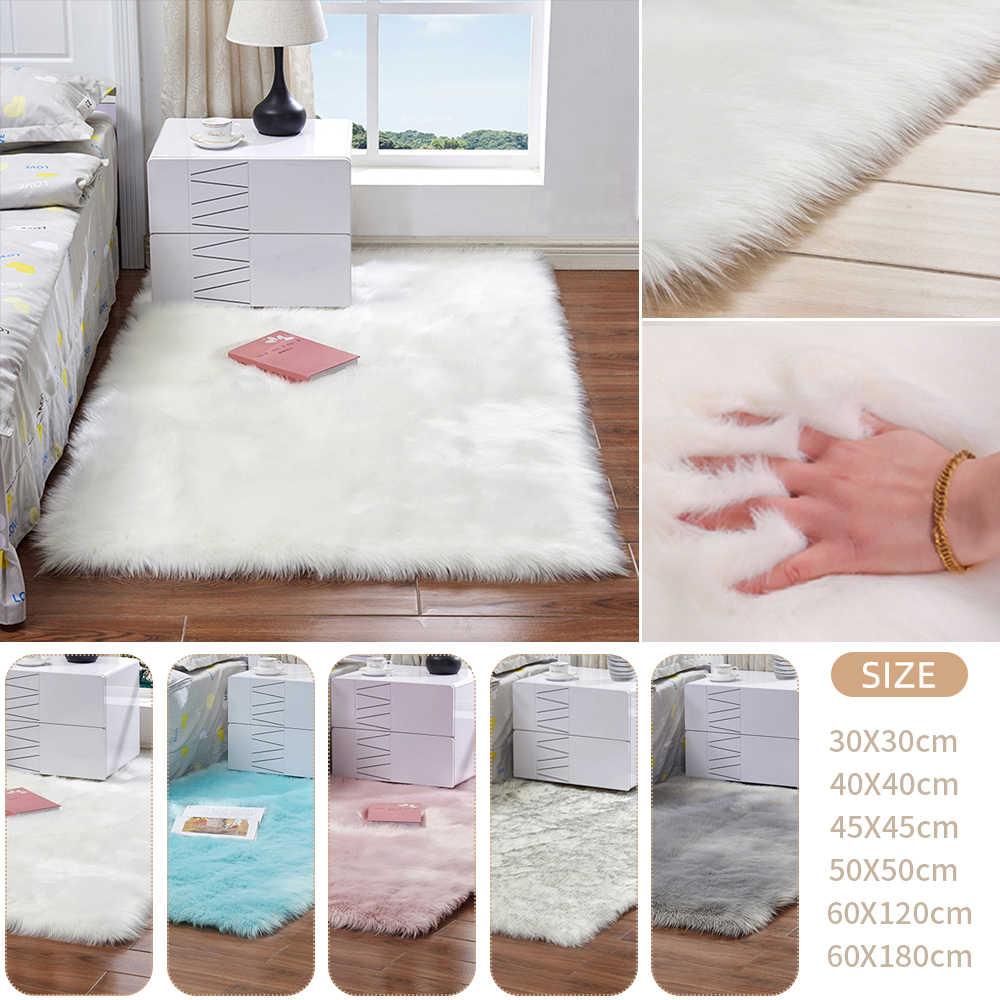 흰색 긴 머리 패션 침실 카펫 얽히고 설킨 부드러운 플러시 카펫 가짜 모피 깔개 침대 옆 양탄자 직사각형 양모 모피 지역 양탄자