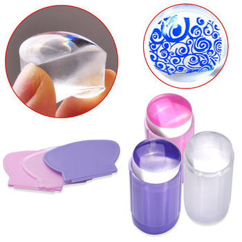 Nail Stamper Clear Silicone Stamp Jelly Nail Art Stamping Plate Scraper Set Polish Transfer Manicure Template Tool image