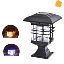 DishyKooker Waterproof House Shape Solar Column Lamp for Garden Landscape Decor Outdoor Lighting