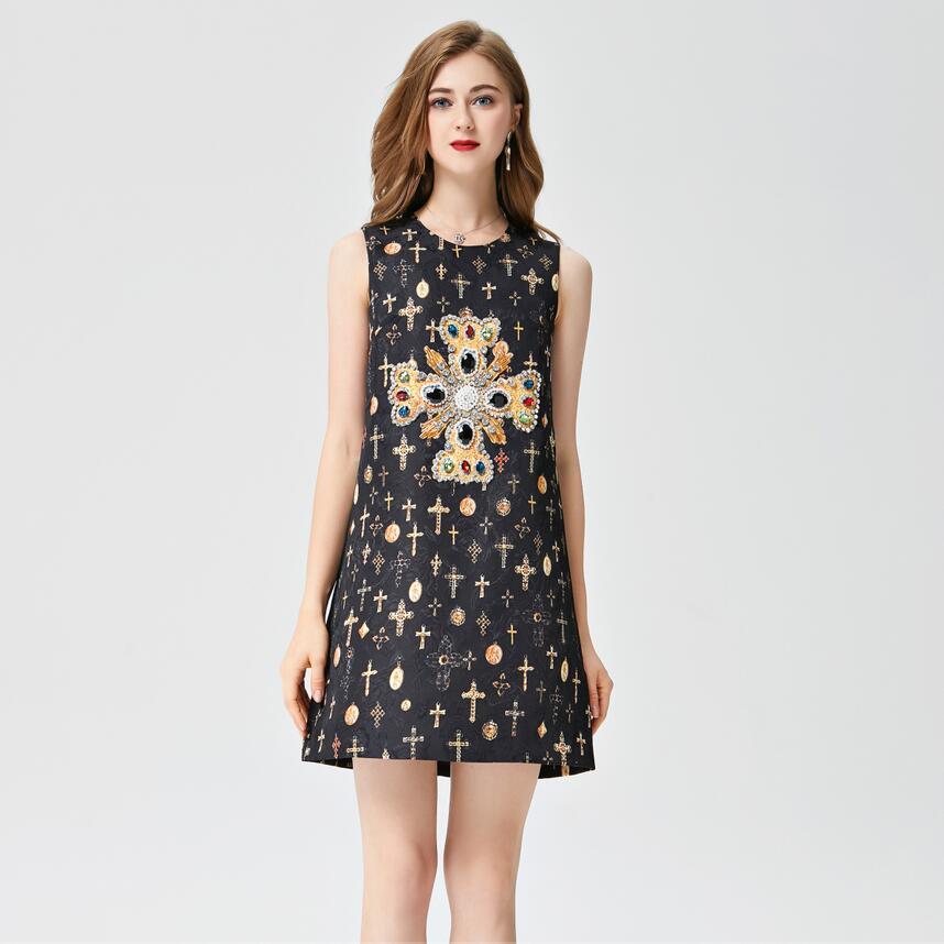 Femmes piste robe 2019 haute qualité été o-cou sans manches Floral imprimé perles élégantes Mini robes Vestidos NP0728M