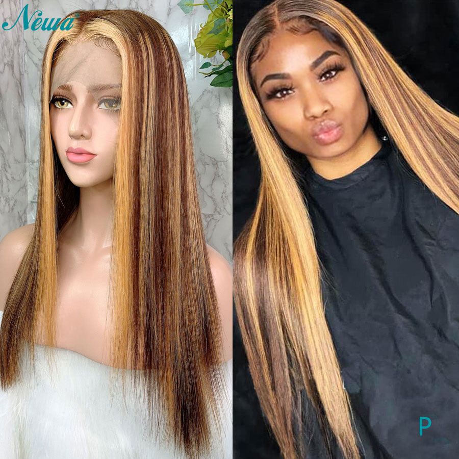 Newa Hair 13x6 droite dentelle avant perruques de cheveux humains pré plumé avec des cheveux de bébé Ombre met en évidence brésilien Remy avant de lacet perruques