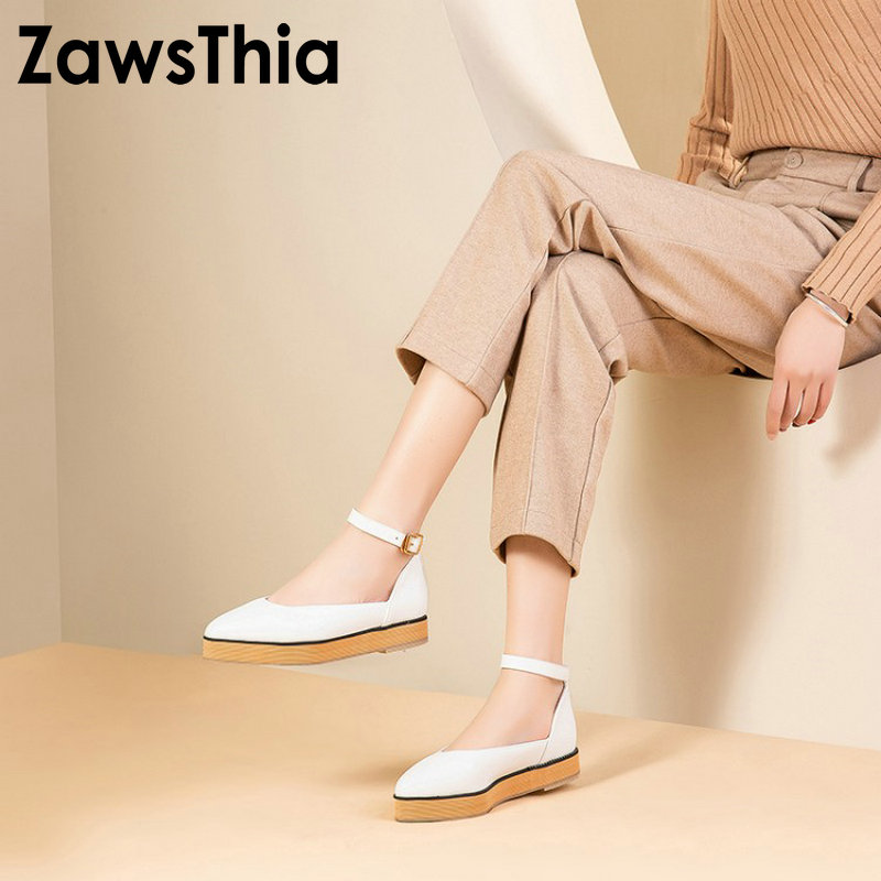 ZawsThia white pink black pointed toe woman casual platform flats shoes with buckle strap women mary janes shoes big size 49 50