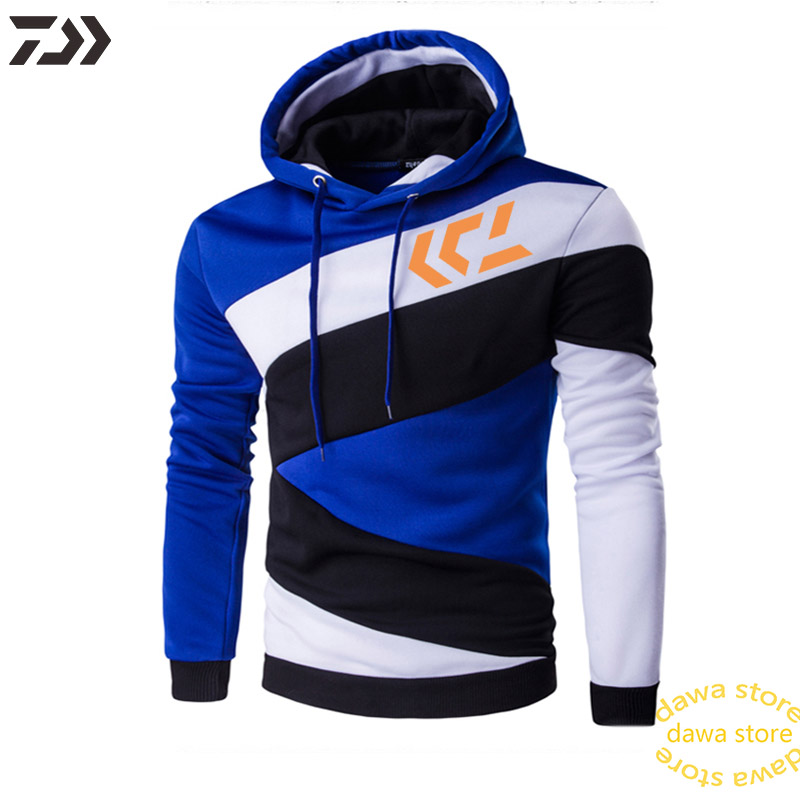 Daiwa Autumn Fishing Jacket Cotton Men Color Matching Outdoor Sport Clothes Drawstring Hat Thermal Striped Fish Jerseys