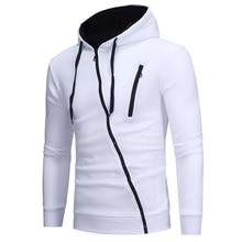 2019 New Men Zipper Hoodie Casual Long Sleeve Solid Color Jacket Autumn Winter Sport Coat