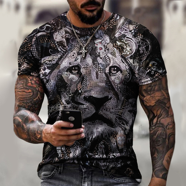 Fashion tiger head pattern men's 3DT shirt summer street style personality short-sleeved 2