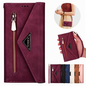 Leather Zipper Hang rope Flip S7 S8 S9 S10 S20 Ultra Case For Samsung A6 A7 A8 J6 A5 J3 J5 J7 2017 Note 8 9 10 Lite Wallet Cover