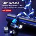 3A течет Светильник СВЕТОДИОДНЫЙ Магнитный зарядный кабель USB C кабель QC3.0 провод для быстрой зарядки 540 поворот микро Тип C Магнитный кабель д...