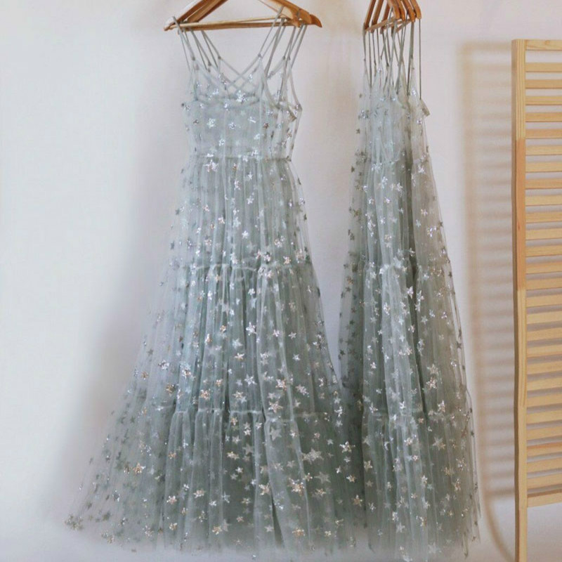 2020 New Arrival Spaghetti Straps Tulle Long Women  Dresses Fashion Bling Bling See Through Dress Sexy Fashion Hot