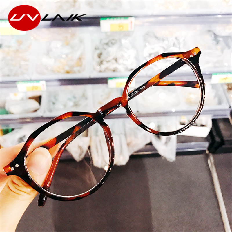 UVLAIK Optical Glasses Frame Boston Eyeglasses Round Myopia Frames Women Clear Transparent Glasses Women's Men's Flower Frames