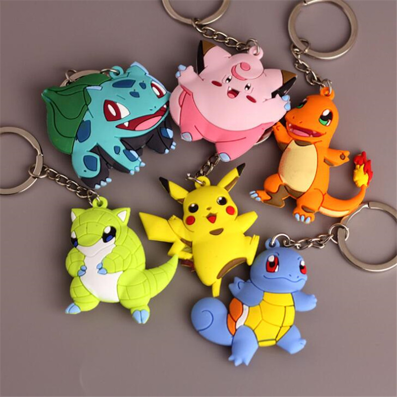Hot New Japan Anime Pokemon Key Chain Pikachu Charmander Bulbasaur Cartoon Cute Toy Pendant Cosplay Badge Snorlax Fancy Gift