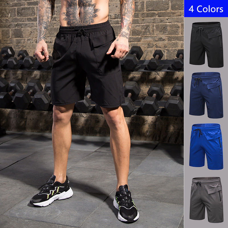 OLOME Multi-pocket Zipper Pocket Male Joggers Shorts Men Loose Trainning Short Pants Gyms Fitness Bodybuilding Workout Quick Dry