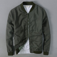 new arrival Men's cotton bomber army green blue khaki spring casual baseball jacket men V neck linen coat male
