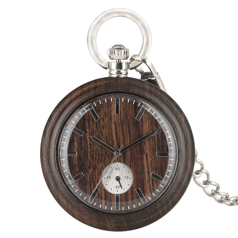 Classic Ebony Wooden Quartz Pocket Watch Special Round Analog Dial Pocket Watches Silver Pendant Chain Watch Unisex Gifts