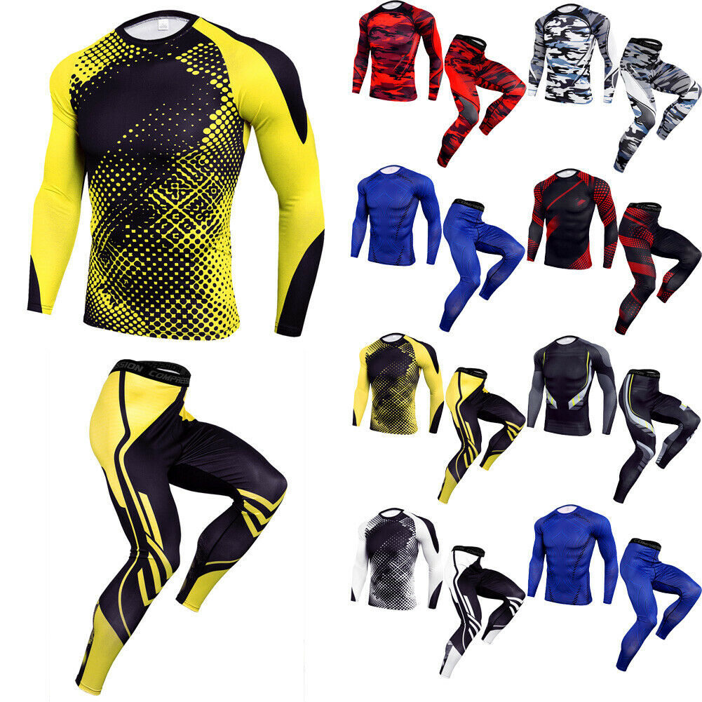 New Brand Casual Mens Compression Clothes Set Fitness Running Basketball Male Skinny Quick Dry Training Suit Exercise Costume