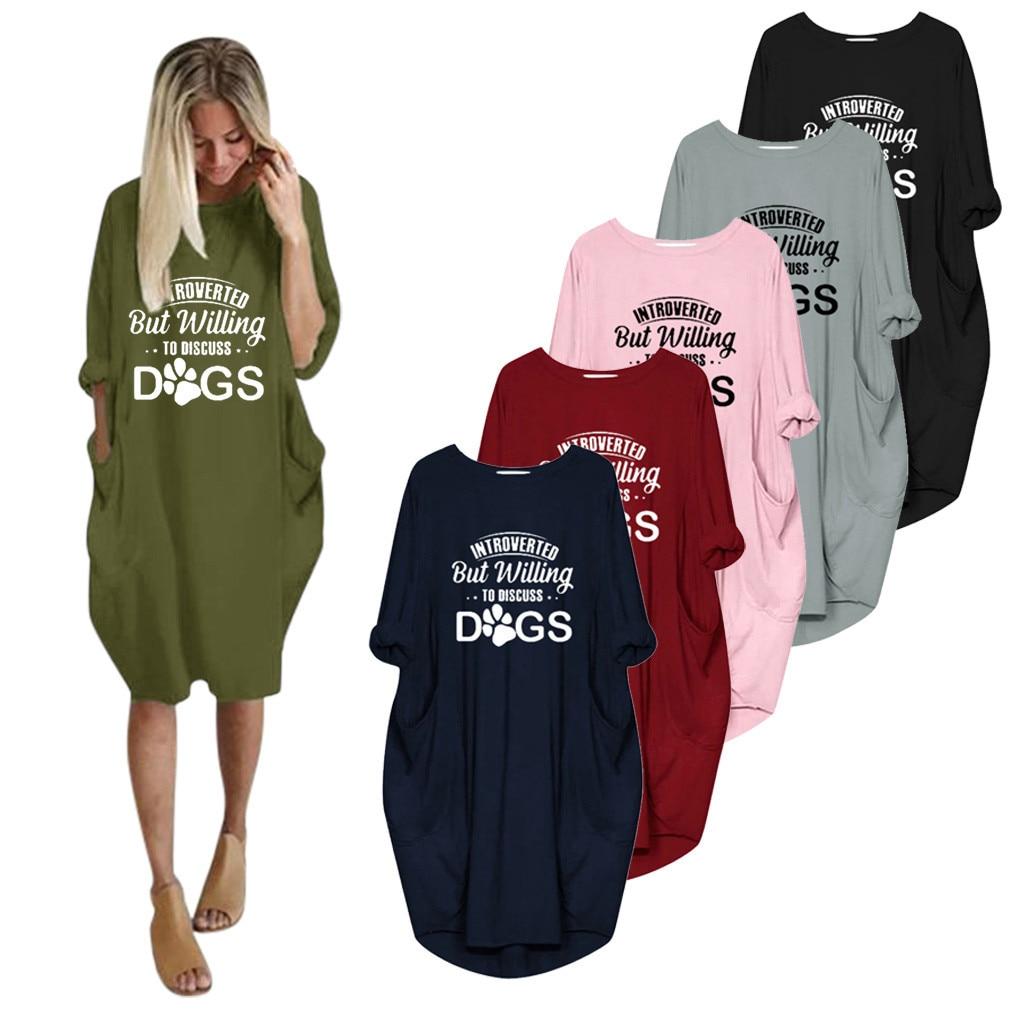 Carta de impressão camisa vestido feminino jumper senhora oversized baggy manga curta bolso pulôver mini vestidos de verão casual - 2