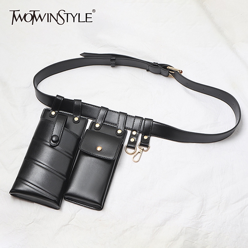 TWOTWINSTYLE Casual Synthetic PU Leather Vintage Belts For Women Patchwork Bag Tunic Belt Female Spring Fashion New 2020
