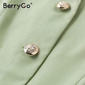 Image 5 - BerryGo Elegant ruffle green dress women High waist belt OL midi dress female vestidos Casual short sleeve office dress ladies