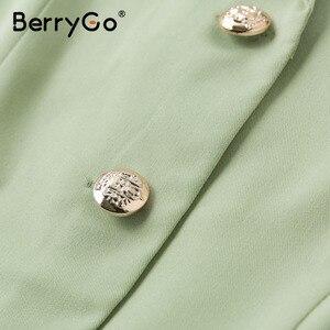 Image 5 - Berrygo Thanh Lịch Xù Xanh Đầm Nữ Cao Cấp Dây OL Đầm Midi Nữ Vestidos Ngắn Tay Đầm Công Sở Nữ