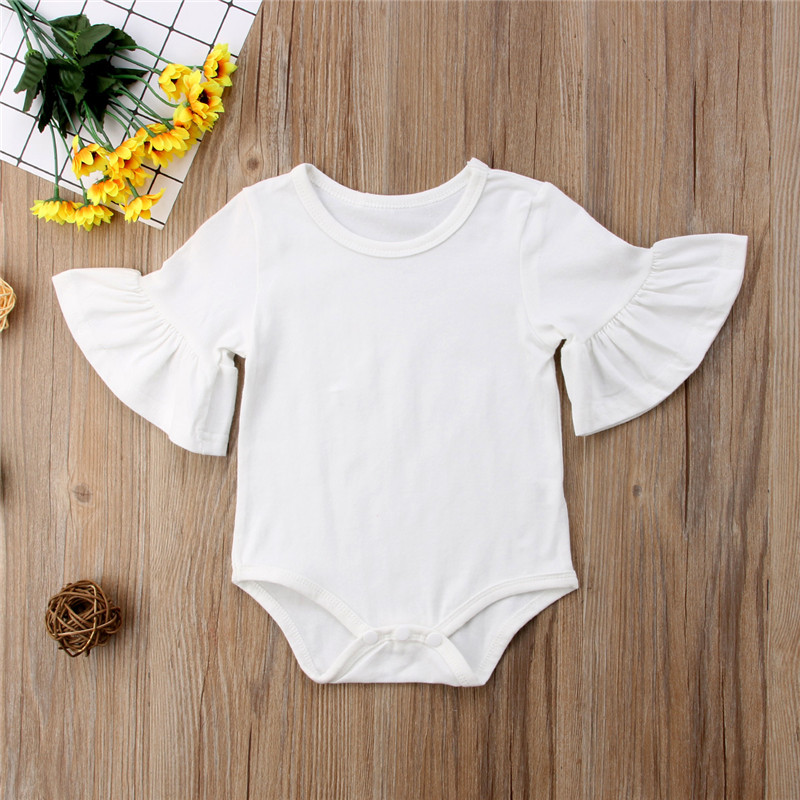 2020 Body Suits Baby Girls Black Cotton Flare Long Sleeve Jumpsuit Bodysuit Girl Clothing Newborn One-Pieces Outfit