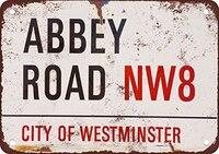 Винтажный домашний декор Abbey Road NW8 Плакат Металлический винтажный металлический знак настенное искусство для гаража паба кафе Наклейка на с...