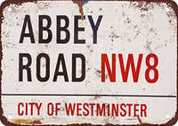 Vintage Home Decor Abbey Road NW8 Poster Metal Vintage Metal Sign Wall Art for Garage Pub Cafe Wall Sticker 20*30 CM