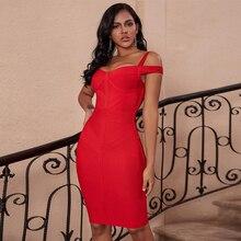 Geyik bayan kadın bandaj elbise 2019 sonbahar yeni kırmızı kapalı omuz bandaj elbise seksi Bodycon ünlü akşam parti elbiseler yaz