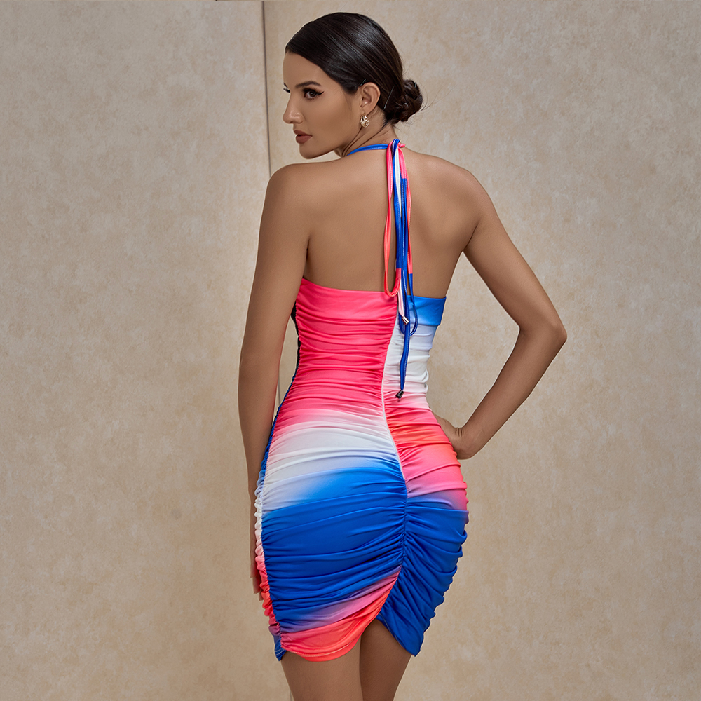 XAKALAKA Multicolours Dresses For Women 2020 Sexy Halter Ruched Mini Bodycon Dress Hollow Out Celebrity Club Party Dress Evening 2