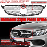 Chrome/Black Diamond Style W205 C250 Car Front Grille Grill Racing Grill For Mercedes For Benz C Class C200 C300 C350 2015 2018|Racing Grills| |  -
