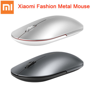 Image 1 - Original Xiaomi Fashion Mouse Portable Wireless Game Mouse 1000dpi 2.4GHz Bluetooth link Optical Mouse Mini Portable Metal Mouse