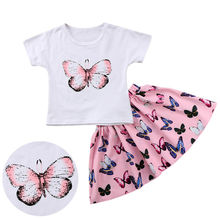 New Brand 2pcs Baby Girls Clothes Summer Tee + Skirts Kids Casual Outfits