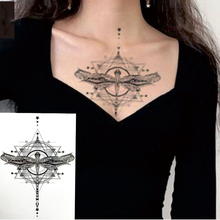 1 PIECE Body or Chest Classic Geometric Dragonfly Waterproof Temporary Tattoo Art Sexy Waist Fake Tatoo For Girl Women
