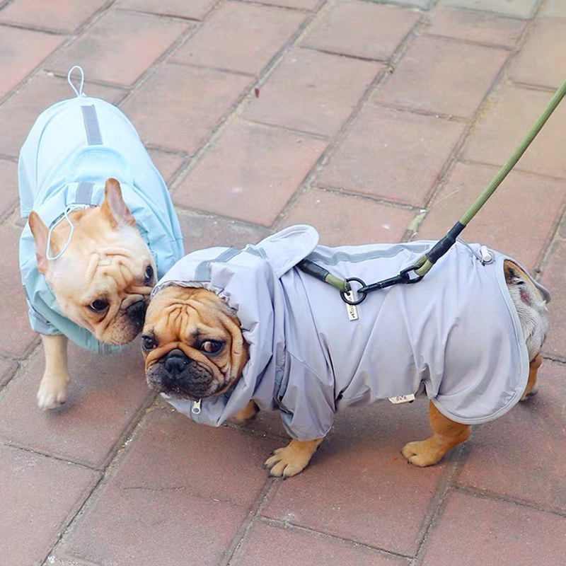 French Bulldog Reflective Raincoat Clothes For Small Medium Dogs Pug Pet Dog Waterproof Clothes Raining Outdoor Costumes XIC01