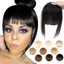 MRSHAIR droit 3 Clips en 3D frange Extension de cheveux humains non remy émoussé Bang 2.5x4.5 pouces cheveux brésiliens Blonde avant franges